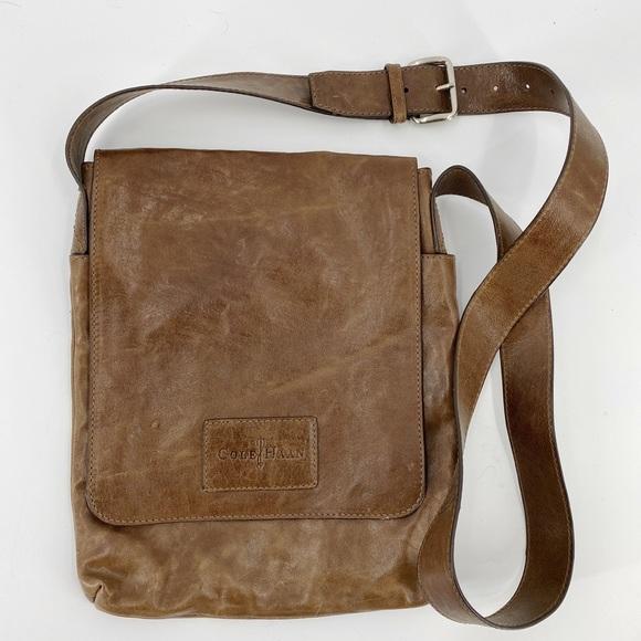 Cole Haan distressed leather messenger bag